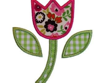 """Tulip Flower Appliques Machine Embroidery Designs Applique Pattern in 4 sizes 3"""", 4"""", 5"""" and 6"""