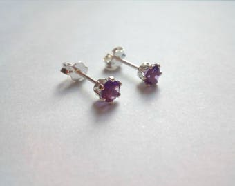Amethyst Stud Earrings, February Birthstone Earrings, 4mm Earrings, Sterling Silver Stud Earrings, Gemstone Earrings, Gift for Her