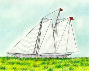 "Landlocked Ship art print of an original drawing available 5x7"" or 8x10"""