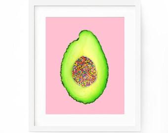 Avocado Print, Avocado Printable, Tropical Fruit Art, Avocado Art, Kitchen Printable, Avocado Poster, Avocado Fruit Print, Kitchen Wall Art