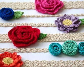CROCHET PATTERN #216 - 6 headbands and 3 flower patterns included - Newborn to Adult sizes included - headband pack- Instant Download kc550