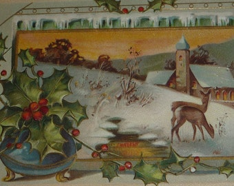 Deer in Snow Vignette With Holly Antique Christmas Postcard