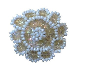 """Qty Five  1 3/8"""" Vintage 1920's Flower Appliques, White Beaded Sequined Medallions, Vintage Sewing Supply"""