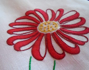 Vintage Table Cloth with Red Daisies