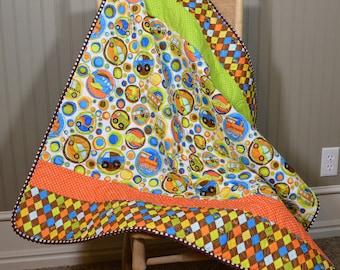 Cars Planes Trains Baby Boy Quilt, Stroller Blanket, Modern Handmade Quilt, Bassinet Bedding, Brown Orange Green Blue On the Go babyquilt