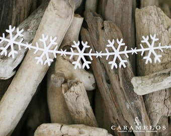 White Satin Snowflake Trim Ribbon Garland 1 yard