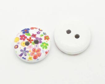 Set of 20 small wood buttons multicolor liberty flowers - 15 mm - 2 holes