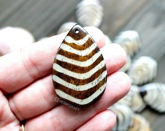 Bone Leaf Pendants, 3pc, 42mm Carved Bone Beads, Bohemian Pendant