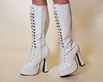 Vintage 90s White Vinyl Lace-Up Platform GoGo 60s Knee Boots 7 Clearance Sale Costume