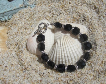 Chunky Black Crystal Beaded Bracelet