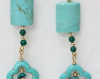 """Plum flower turquoise earrings 2.5 """" long E-1072"""