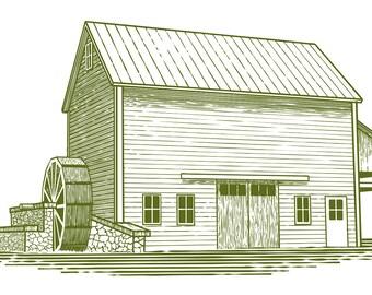 Woodcut Mill Illustration – Digital Download