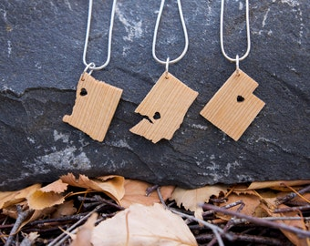 State Necklace in Hemlock- Personalize with ANY State and City -  Wood, Heart, Pride, City, State Jewelry, Pendant, Gift, Sterling Silver