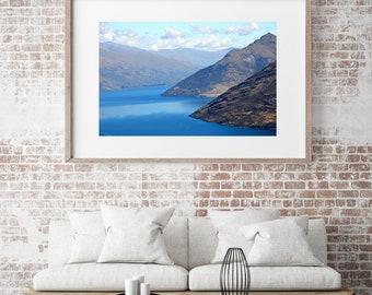 Landscape Photography, New Zealand Mountain Art Lake Printable, Large Wall Art Prints Nature Art Digital Prints Download Lake Wakatipu