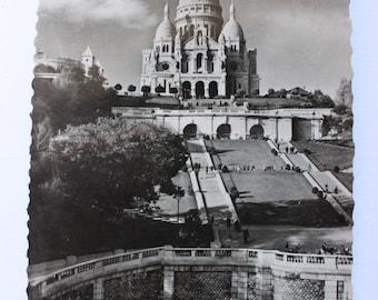 French antique postcard Paris Sacre Coeur black white 1930s unused collectable postcard free postage!