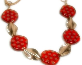 Retro Polka Dot Necklace - Red and Copper Necklace - Glass with Copper Polka Dots - Boho - Fun Jewelry - Asymmetrical - Copper Chain
