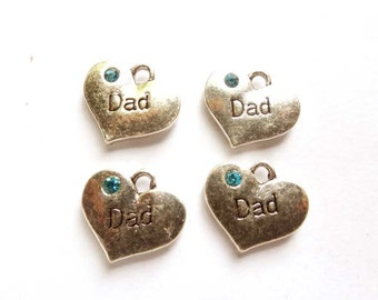 4 Antique Silver Dad Charms - 21-50-9