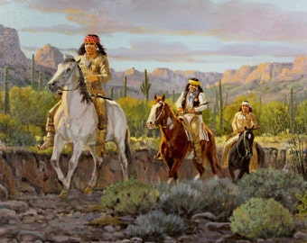 "Western Artist, Ron Stewart Oil Painting, ""Evening Trouble"", #735"