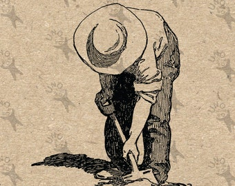Vintage retro drawing image Farmer Man Digging Instant Download Digital printable clipart graphic -  iron on, transfer, burlap etc HQ300dpi