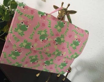 Handmade fabric re-usable Notebook Cover Tote - Princess Froggy