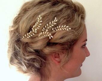 Grecian Bridal Hair Pins, Fern Leaf Hair Pins, Wedding Hair Accessories, Pearl Bridal Hair Accessories, Formal Hair Pins, Set of Five