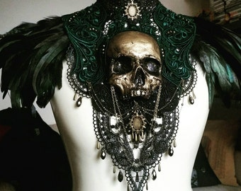 Catacomb Couture Gold and Emerald Chest Piece