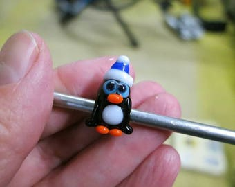 Winter Penguin with Blue Hat Big Hole Bead