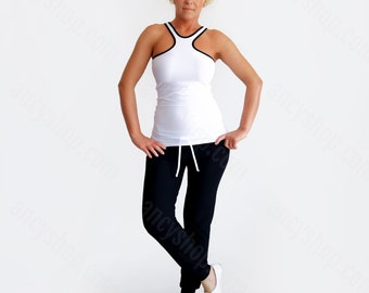 Basic Racer Top, White Halter Top, White Racer Top, Black White Top, Urban Fashion Top, Summer Shirt, Black White Tank, Sleeveless Top