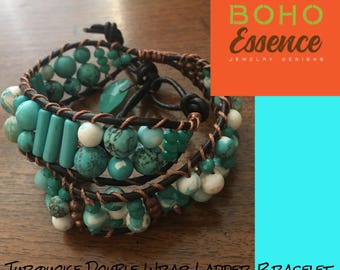 Boho Genuine Turquoise Double Wrap Ladder Bracelet