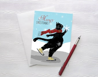 Christmas Cards Xmas Holiday Cat Illustration Drawing Greeting Card Black Cat Skating Cats Stationery Funny Winter  - Meowy Christmas