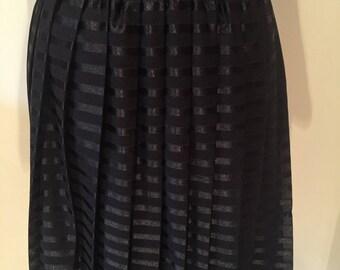 Vintage Black Pleated Midi Skirt