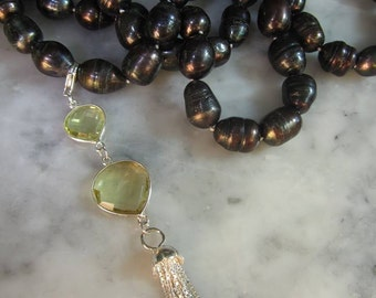 TOM K Necklace pearls tassel Coco Tahiti Silver Gold Pure elegance