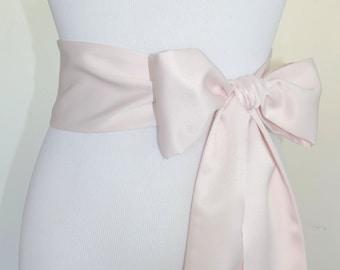 Simple Bridal Blush Pink Sash, Matte Satin Sash, 2 or 3 inch Wide Sash, Bridesmaids Satin Belt
