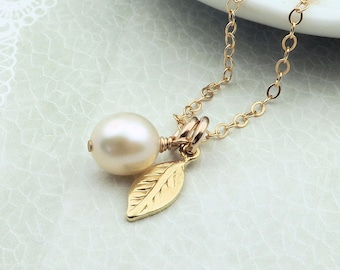 Gold Leaf Necklace, dainty leaf and pearl necklace, leaf charm necklace, 14k Gold Fill, bridesmaids gift