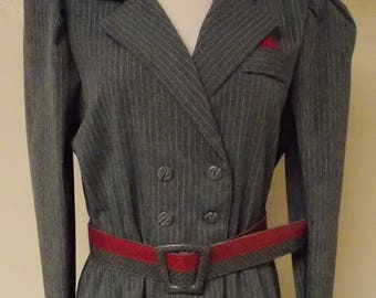 K H II Sportswear vintage dress, gray with white pin stripe, double breasted to elastic waist, new old stock 14 M