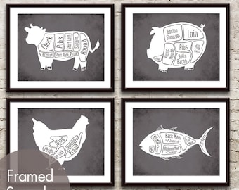 Cow, Pig, Chicken and Fish (series B) Butcher Diagram Series - Set of 4 Art Prints (Featured in Charcoal)