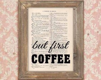 But First Coffee Print Art Poster Typography Wall Decor Home Decor Giclee Artwork Typographic Art Wall Hanging Decor Minimalist Black White