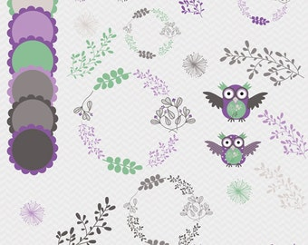 Owl clipart, flower frame, leaves and flowers, digital images for invites, party printables, websites, banners, paper crafts, purple, gray