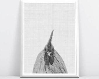 Chicken Photography, Chicken Print, Rooster, Farm Animal, Black and White Decor, Kitchen Wall Art, Nursery Grey and Whtie, Instant Download