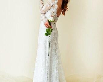 Long Sleeve Wedding Dress. Lace Wedding Dress. Backless Bridal Dress. A-Line Simple wedding dress. Boho Wedding Dress.Long Fitted Dress