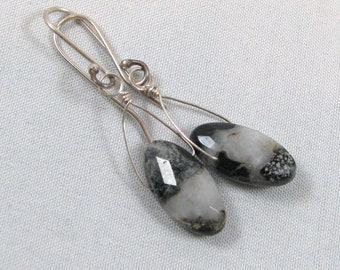 Agate Briolette Earrings - sterling silver, wire wrapped, black, white, gray, natural, undyed, small, lightweight