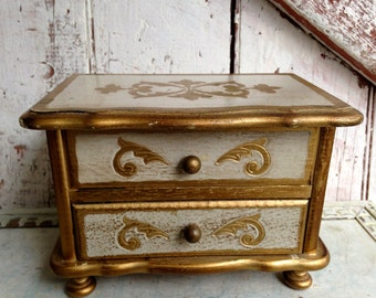 Vintage, jewelry box chest Florentine style gold gilt and white