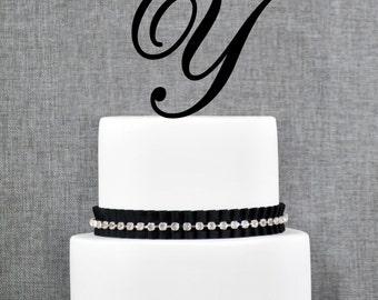 Personalized Monogram Initial Wedding Cake Toppers -Letter Y, Custom Monogram Cake Toppers, Unique Cake Toppers, Traditional Initial Toppers