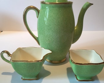 Royal Winton Grimwades Green Coffee Pot, Milk Jug and Sugar Bowl. Vintage 1930's.