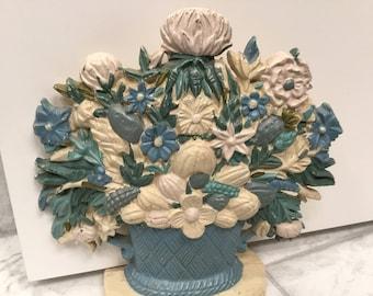 Vintage Cast Iron Floral Doorstop, Cast Iron Doorstop, Floral Bouquet Doorstop, Vintage Cast Iron Doorstop, Flower Basket Doorstop