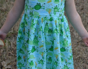 Handmade Organic Cotton Toddler Girl's Sleeveless Summer Dress - Light Blue with Frogs - Sibling Brother Matching - 2T 4T 5T - Rana 3186
