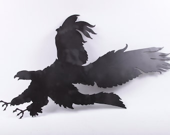 Extra Large, Metal Laser cut, Predatory Bird, Large, Wall Hanging, Eagle, Raven, Crow, Black, Mascot, USA ~ The Pink Room ~ 170211