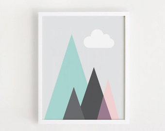 INSTANT DOWNLOAD 8x10, 11x14, A4 - Geometric Triangle Printable Art Nursery Art Printable Mountain Cloud Home Decor Art