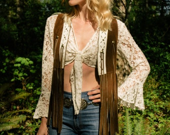 Rare Vintage 1960s // 1970s Woodstock Era, Brown Suede & White Leather Fringe Hippie, Boho // Bohemian Vest
