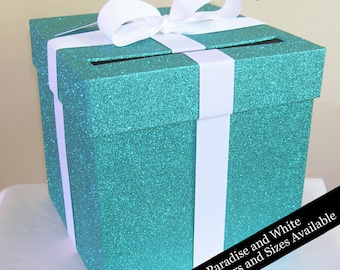 Glittered Wedding Card Box with White Ribbon- Choose Your Size and Colors